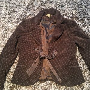 H&M blazer corduroy brown polka dots brown 12 L/XL